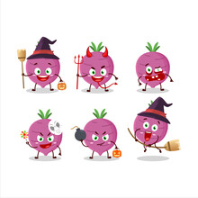 Halloween Expression Emoticons With Cartoon Character Of Garlic