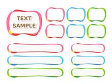 丸っこいストライプ枠のテロップベース・4種3色セット