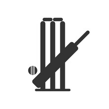 Cricket Bat Ball Stump Bails Icon