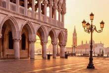 Morning Light Over San Giorgio Maggiore Island Seen From St Mark's Square In Venice, Italy