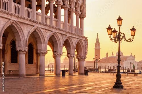 Fotografia Morning light over San Giorgio Maggiore island seen from St Mark's Square in Ven