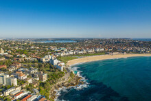Aerial Drone View Of Iconic Bondi Beach In Sydney, Australia During Summer On A Sunny Morning