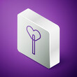 Isometric line Lollipop icon isolated on purple background. Food, delicious symbol. Silver square button. Vector.