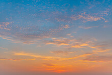 Beautiful Calmness  Sunset Sky And Colorful Shading Of Sunlight And Clouds