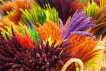 Selective Focus Grass Flower - For  Decorate The House - Colorful Nature Texture Background - Image From Phu Thok Chiang Khan Loei - Travel Thailand