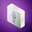 Isometric line Pipette icon isolated on purple background. Element of medical, cosmetic, chemistry lab equipment. Silver square button. Vector.