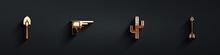 Set Shovel, Revolver Gun, Cactus And Crossed Arrows Icon With Long Shadow. Vector.