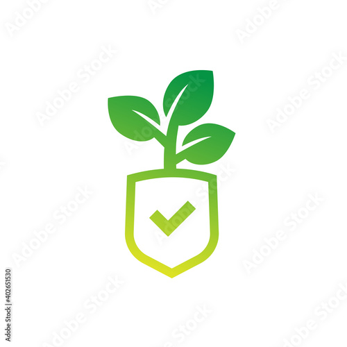Photo crop protection, agricultural insurance icon, vector logo