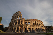 The Last Sunshine Of The Day At Colosseum,Italy.An Oval Amphitheater In The Center Of The City Of Rome.