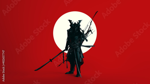 Fotografie, Obraz Black Samurai Polygon Form with Large White Sphere Circle with Red Background 3d