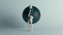 Futuristic Female Character In Black With Alien Geo Sphere AI Super Computer Droid 3d Illustration Render