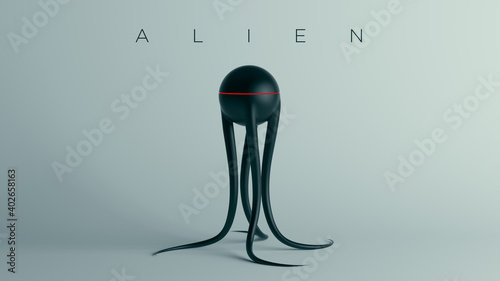 Foto Black Spheroid Alien with Long Tentacles and Red Stripe with Alien Text 3d illus