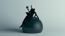 Futuristic Female Assassin Character In Pure Black Bodysuit With Alien Geo Sphere AI Super Computer Droid 3d Illustration Render