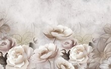 3d Mural Wallpaper With Simple Floral Background . Modern Flowers In Simple Wall