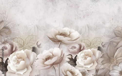 3d mural wallpaper with simple floral background . modern flowers in simple wall - fototapety na wymiar