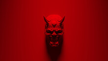 Red Hannya Sino-Japanese Mask Mounted 3d Illustration Render