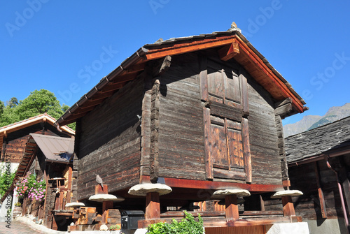Traditional Raised Barns in Naters, Near Brig, Switzerland Tapéta, Fotótapéta