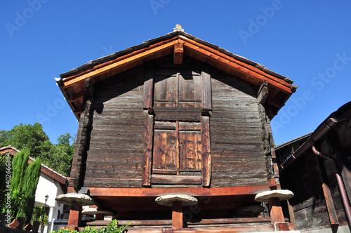 Fényképezés Traditional Raised Barns in Naters, Near Brig, Switzerland