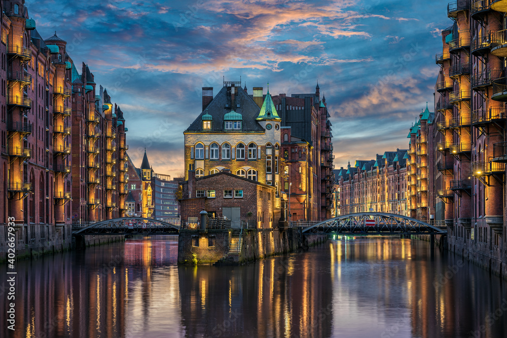 Fototapeta The historic Speicherstadt in Hamburg, Germany