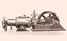 Sketch Of An Old Steam Engine With A Boiler, A Flywheel And A Piston Mechanism.