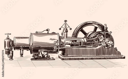 Fotografia Sketch of an old steam engine with a boiler, a flywheel and a piston mechanism