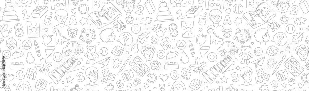 Preschool kindergarten Educational toys doodle line vector illustration seamless pattern.