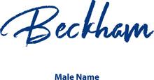 Beckham-Male Name Handwritten Cursive Brush Calligraphy Blue Color Text