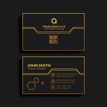Creative Business Card Design. Luxury Vector Business Card Template. Premium Letter Logo With Golden Design. Elegant Corporate Identity.