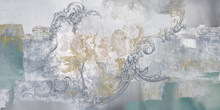 Wall Mural, Wallpaper, In The Style Of Classic, Baroque, Modern, Rococo. Wall Mural With Birds And Concrete Grunge Background. Light, Delicate Photo Wallpaper Design.