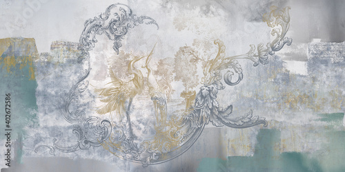 Wall mural, wallpaper, in the style of classic, baroque, modern, rococo. Wall mural with birds and concrete grunge background. Light, delicate photo wallpaper design. - fototapety na wymiar