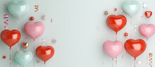 Happy Valentines Day Decoration With Heart Shape Balloon, Confetti, Copy Space Text, 3D Rendering Illustration