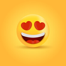 3d Smiling Face With Heart Eyes, Loving Emoji Character, In Love Emoticon
