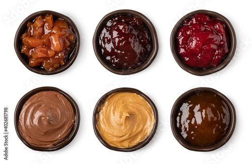 Fotografie, Obraz set of glass bowl with jam