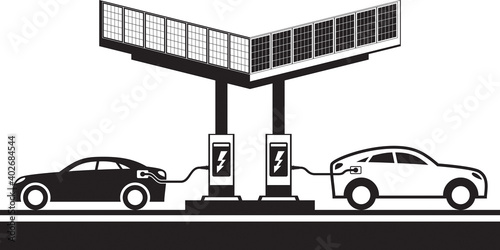 Electric vehicles at charging station with solar panels – vector illustration