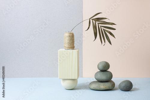Fototapeta Harmony and balance concept. Abstract boho zen still life in pastel colors. obraz