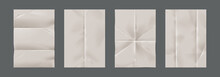 Wrinkled Paper. Realistic Blank Pages With Crumpled Effect. Isolated Unfilled Straightened Notepad Sheets With Copy Space For Writing. Empty Documents With Horizontal And Vertical Trifold, Vector Set