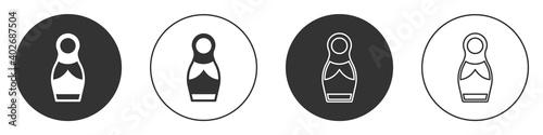 Obraz na plátně Black Russian doll matryoshka icon isolated on white background