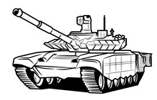 A Huge Tank With A Raised Muzzle.  Isolated On A White Background.  Tank Illustration For Coloring.Illustration In Ink Hand Drawn Style.