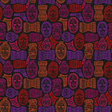 African Tribal Masks And Utensils Seamless Pattern