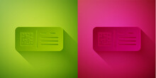 Paper Cut QR Code Ticket Train Icon Isolated On Green And Pink Background. Paper Art Style. Vector.