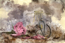 Digital Watercolor Painting Of Romantic Vintage Retro Look Applied To Flower And Garden Paraphenalia Still Life Image With Spring And Summer Seasonal Blooms