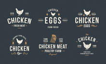 Chicken Egg, Chicken Meat Logo, Label. Vintage Chicken Logo Templates With Hen Silhouette. Retro Hipster Poultry Emblems And Posters For Restaurant, Butcher Shop, Packaging Design. Vector Illustration