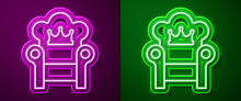 Glowing Neon Line Medieval Throne Icon Isolated On Purple And Green Background. Vector.