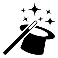 Gz1002 GrafikZeichnung - English - Magician Hat And Magic Wand. - Magic Stick - Illusion Symbol, Isolated On White Background - Simple Black Pictogram - E10078