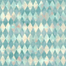 Alice In Wonderland Style Watercolor Diamond Rhombus  Seamless Pattern