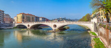 Verona, Italy. Panoramic View Of Ponte Della Vittoria Bridge