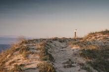 Meiras Or Punta Frouxeira Lighthouse At Sunset. Valdoviño, Galicia, Spain