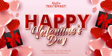 Happy Valentine's Day Text, Shiny Rose Gold Color Style Editable Text Effect On Soft Pink Background