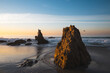 Sea stacks in sunrise at El Matador Beach in Malibu, California
