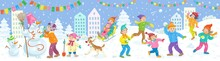 Winter Holidays. Happy Children Playing Snowballs, Sledding, Making A Snowman In A Winter Decorated City. Banner In Cartoon Style. On A  Blue Background. Vector Flat Illustration